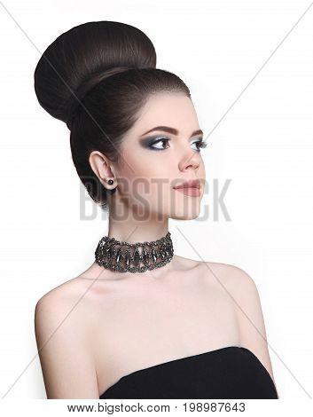 Fashion Bun Hairstyle. Beauty Makeup Girl. Attractive Teen Brune