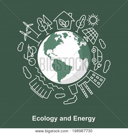 Earth and energy sources. Alternative energy sources against the traditional. Ecological concept development Electric power sources. Linear and flat style. Save the planet vector illustration.