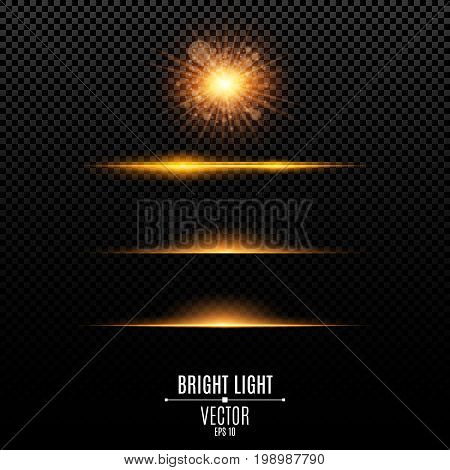 Set. Abstract glare and flashes isolated on a transparent background. Golden bright radiant star. Golden backlight. Orange soft neon lines and lights. Vector illustration