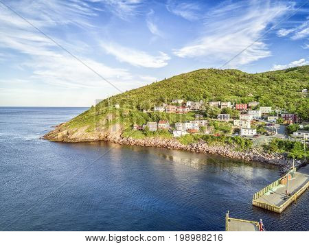 Petty Harbour With Two Piers During Summer Sunset, Newfoundland, Canada