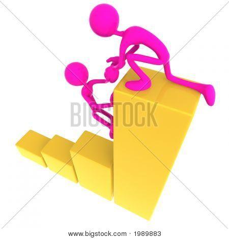 Teamarbeit-Hilfe bis Golden Business Balkendiagramm