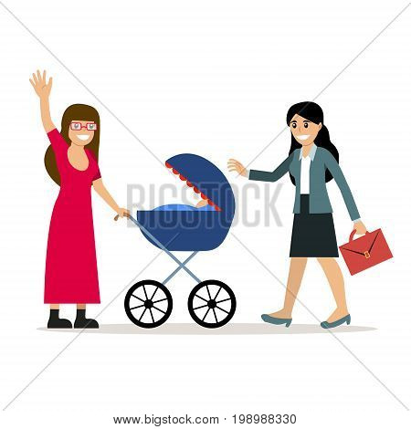Female gay couple with kid. Same-sex family. Happy homosexual spouses holding a baby. Vector art isolated on art. Cartoon design.