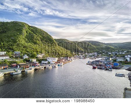Charming Petty Harbour With Green Hills And Wooden Architecture, Newfoundland, Canada