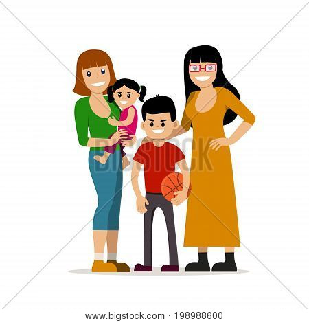 Female gay couple with kids. Same-sex family. Happy homosexual spouses holding a baby. Vector art isolated on art. Cartoon design.