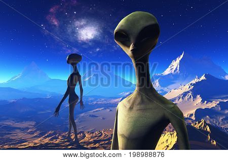 An alien against the background of the planet.,3d render