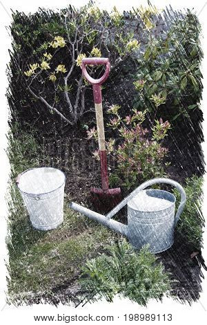Gardening illustration of tools, watering can, spade and bushes on soil background