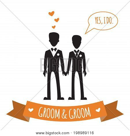 Gay couple. Vector illustration isolated on white. Same-sex family.  Male homosexual characters. Design for wedding invitation.