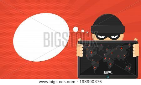Cartoon hacker is holding a hacked tablet on a red background. Black markers with cracked red locks on the map of the earth. The system is hacked. Vector illustration in flat style