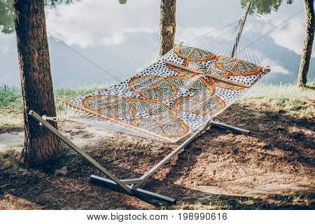 Stylish Polka Dot Hammock Near Lake At Summer Vacation Camp, Boho Hammock Hanging Outdoors, Family C