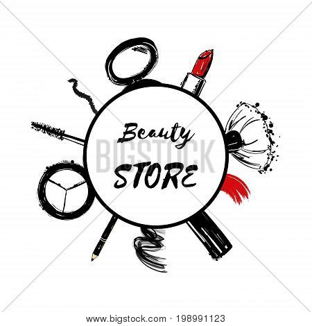 Beauty Store Emblem With Type Design And Cosmetics. Hand Drawn Set Of Lipstick, Makeup Brush, Eyelin