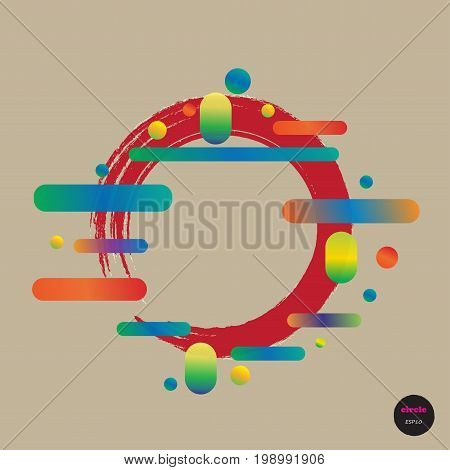 Vector Design Colorful Circles Elements Template. Frame Of Circle Use To Website Or Business. Big Ci
