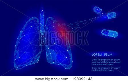 Human Internal Organ Lungs Medicine Treatment Drug. Low Poly technology design. Red injury pain area polygonal triangle connected dots. Health medicine icon background vector illustration art