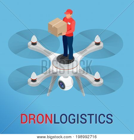 Drone logistics network Flat vector illustration Isometric Drone Fast Delivery of goods in the city. Technological shipment innovation concept. Autonomous logistics