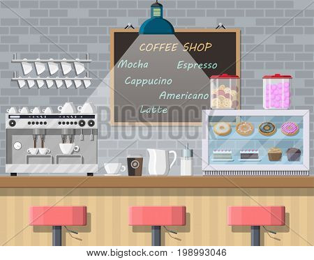 Interior of coffee shop, pub, cafe or bar. Bar counter, chairs and board with menu. Coffee cup with hot drink. Freezer with cakes and pastry Brick wall and lamp. Vector illustration in flat style.