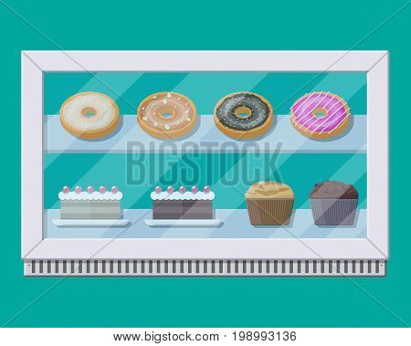 Bakery shop vitrine freezer with cakes and pastry. Donut, muffin, cupcake. Vector illustration in flat style