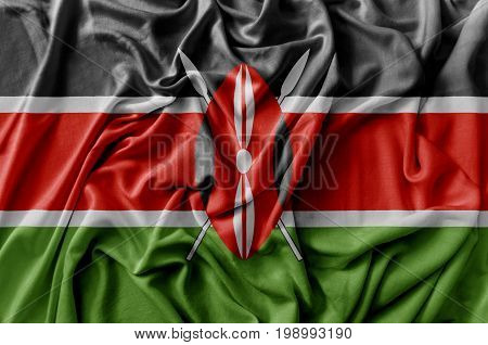 Ruffled waving Kenya flag national flag close