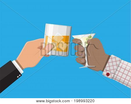 Hands holding glasses with liquor and whiskey drinks. Celebration ceremony, holydays. Vector Illustration in flat style