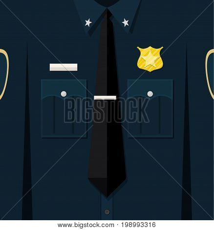 Folded blue policeman uniform with badge. Vector illustration in flat style