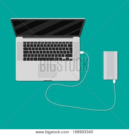 Laptop plugged and charging from powerbank usb port. Vector illustration in flat style