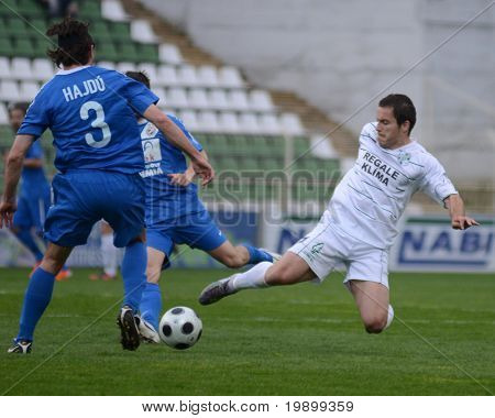 KAPOSVAR, HUNGARY - APRIL 16: Boris Gujic (R) in action at a Hungarian National Championship soccer game - Kaposvar vs MTK Budapest on April 16, 2011 in Kaposvar, Hungary.