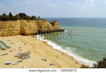 Senhora da Rocha Algarve Portugal - September 27 2014 : Tourists on Senhora Da Rocha Beach in Portugal