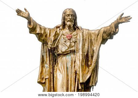 Old Jesus Christ golden statue isolated over white background