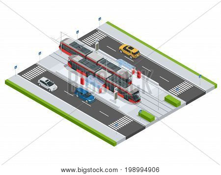 Modern Tramway on the stop and cars on the road Metropolitan mass transit system icons featuring tram car, cable car and modern tramway train Ideal for transportation infographics City Transport.