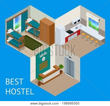 Youth hostel building facade, backpack, double decker bunk bed, room key Travel and tourism business themed items.