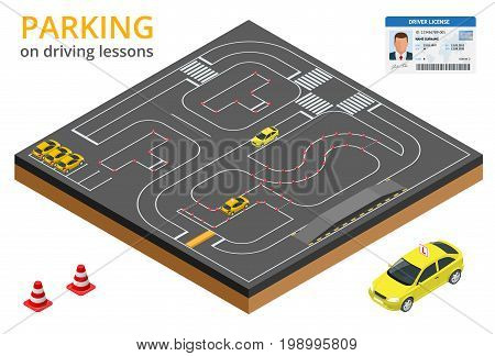 Trained in driving school concept Parking on driving lessons and test drive.