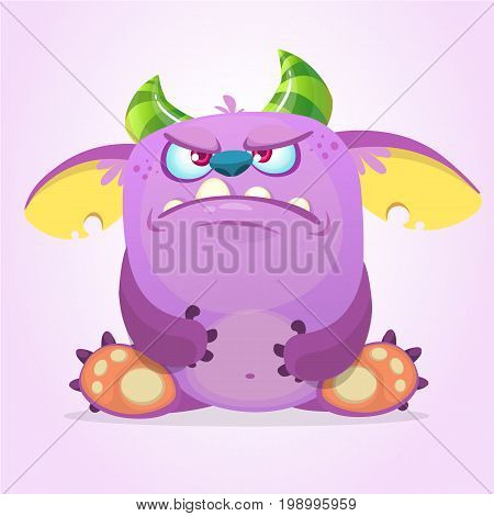 Angry cartoon goblin monster. Vector illustration isolated