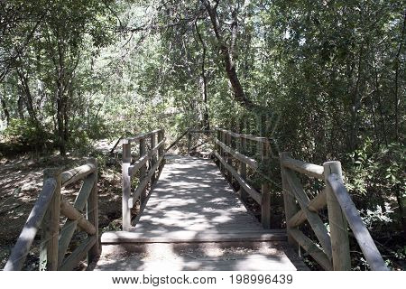 Bridge of the surrounding road of the reservoir of Navacerrada. Madrid's community. Spain. Europe
