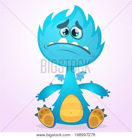 Vector cartoon dragon monster with tiny wings. Blue dragon character waving his hands. Furry blue dragon vector illustration. Blue monster with big mouth and teeth icon.
