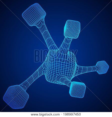 Wireframe Mesh Molecule. Connection Structure. Low poly vector illustration. Science and medical healthcare concept