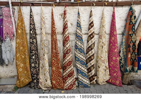 The traditional Turkish women's scarves. Bazaar (Street market)