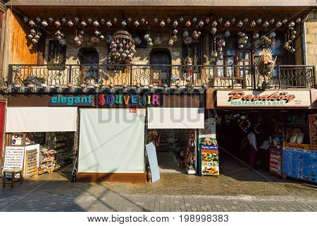 SIDE TURKEY - JULY 07 2015: The shopping street and a souvenir shop. Anatolian coast - a popular holiday destination in summer of European citizens.