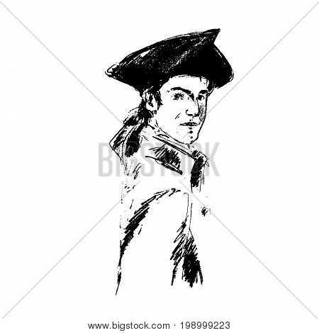 Portrait of an imaginary man. Officer in historical costume, coat, and tricorn hat. Sketchy style. Graphics illustration. For room decoration, clothes designs, prints. Vintage style.