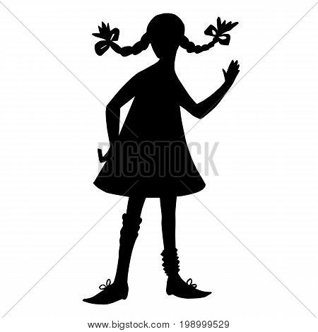 Girl silhouette in style of Pippi Longstocking. Black contour isolated on white background. Pigtails hairstyle, short dress, big shoes. Literature cartoon characters.