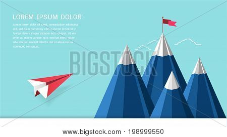 Leadership success concept, Red plane flying on sky heading to mountain with a flag on the top, Symbol of success, goal, achievements in business life (Paper art style)