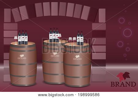 Brand. Wine bottles and glasses on barrels in wine cellar. Logo. Red tones.