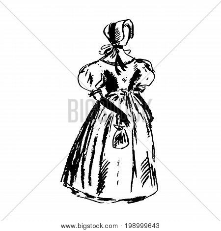 Stylish antique women's dress on the mannequin. No face. Vintage female clothes. Casual gown of victorian era. Accessories, hat, bag, long gloves. Sketch, graphics illustration.