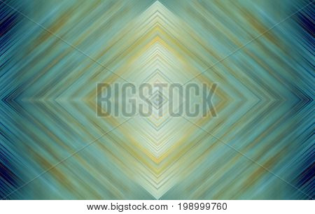 Rhombus bright turquoise green, blue and yellow, wallpaper background. Abstract technology design for templates, layouts, web pages. Kaleidoscope symmetric effect with strips and geometric shapes