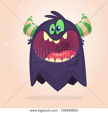 Angry cartoon black monster screanimg. Yelling angry monster expression. Halloween vector illustration