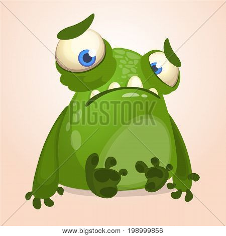 Cute cartoon monster. Halloween vector illustration of upset monster alien