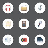 Flat Icons Octave Keyboard, Quaver, Mp3 Player And Other Vector Elements poster