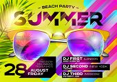 Beach Party Poster for Music Festival. Electronic Music Cover for Summer Fest or DJ Party Flyer. Bright Green Background with Sunglasses and Palm Leaf. Summer Vibes. poster