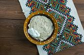 dezhen - Russian dish of oatmeal and spoiled milk poster