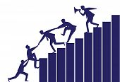Vector silhouette illustration. Business teamwork leadership concept. Businessmen working together helping each other to climb ladder of success. Leader motivating his team to work hard for top position poster