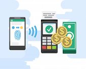 Mobile payments and near field communication. Transaction and paypass and NFC holding phone. Vector illustration poster