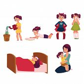 Daily routine, little girl doing chore, helping mother, feeding cat, going to school, playing with toys, cartoon vector illustration isolated on white background. Daily routine set, little girl poster