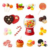 Set single cartoon candies: lollipop candy cane bonbon marmalade teddy bear licorice candied fruit gumball machine candy apple caramel. Vector illustration flat icon isolated on white. poster